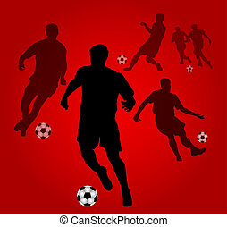 Red Soccer players silhouettes