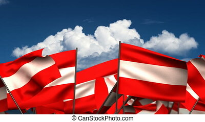 Waving Austrian Flags (seamless & alpha channel)