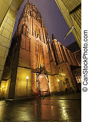 Rainy evening by Frankfurt Cathedral - Rainy evening by...