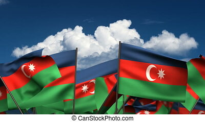 Waving Azerbaijani Flags (seamless & alpha channel)