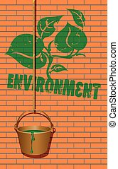 Symbol of the environment caused green paint on the wall of...