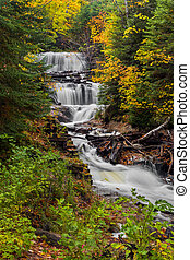 Sable Falls at Pictured Rocks - Sable Falls, a waterfall in...