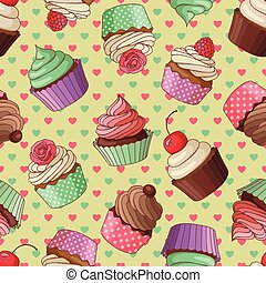 Cupcake pattern, yellow