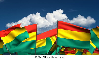 Waving Bolivian Flags (seamless & alpha channel)