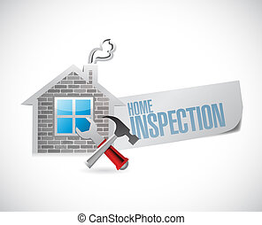 home inspection house sign illustration design
