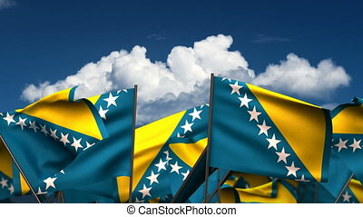 Waving Bosnia and Herzegovinan Flags (seamless & alpha...