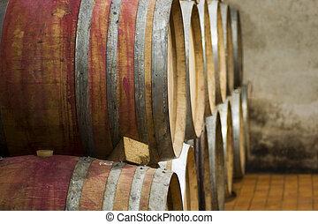 Barrels - Closeup of wine barrels in a cellar