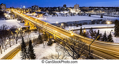 Bridge at Night in Winter - The Broadway Bridge and South...