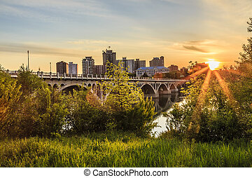 Sunset over the City of Saskatoon - A warm summer sunset...
