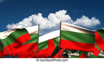Waving Bulgarian Flags seamless alpha channel