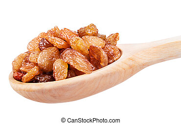 raisins in a wooden spoon. Clipping Path