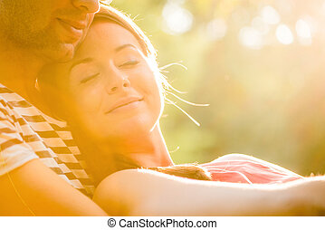 Young couple in love hugging - Intimate moments - young...