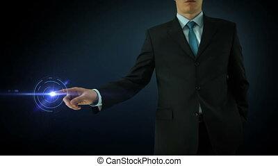 Businessman interactivity Touch screen. Touchscreen Technology motion graphics. Blue bar graph.