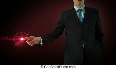 Businessman interactivity Touch screen. Touchscreen...