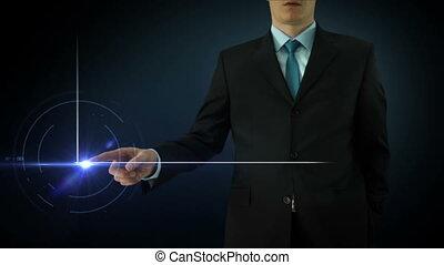 Businessman interactivity Touch screen Touchscreen...