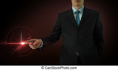 Businessman interactivity Touch screen. Touchscreen...