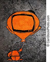 orange man with ballon tv head