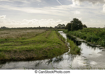fields and ditch at Romney Marsh - landscape of the marsh...