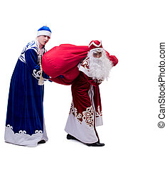 Funny Santa and Snow Maiden exchanged costumes, isolated on...