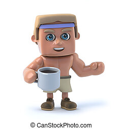 3d Bodybuilder drinks a cup of coffee - 3d render of a...