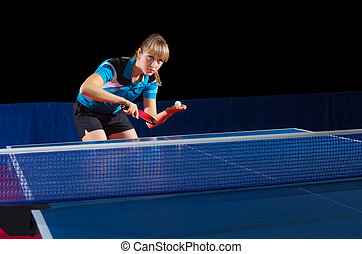 Girl table tennis player isolated