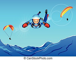 Sky-diving and paragliding - Sun-lighted mountain sky-diving...