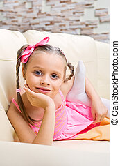 Little girl in pink dress