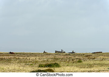 wrecks on seaside at Dungedness - view of wrecks of old fish...