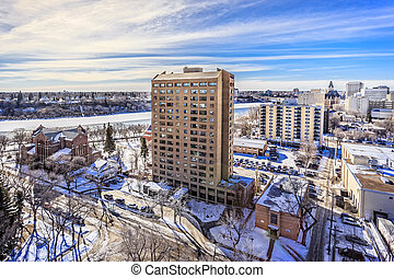 Saskatoon skyline in Winter - The city skyline of Saskatoon,...