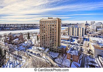 Saskatoon skyline in Winter