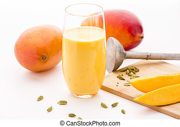Mango Milkshake, Two Mangos And Fruit Slices - Homemade...