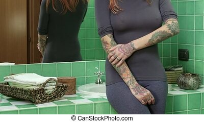 Girl Woman Showing Tattoo On Body