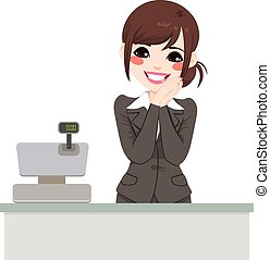Gentle Cashier Woman - Beautiful gentle asian cashier woman...