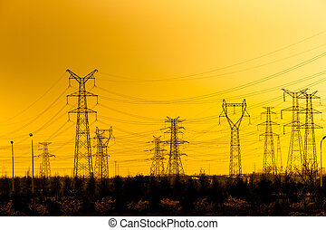 sunset power tower - High voltage towers with the sunset...