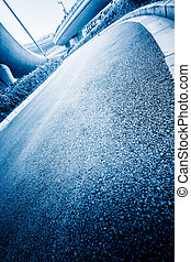 overpass - empty road, overpass of shanghai china. blue...