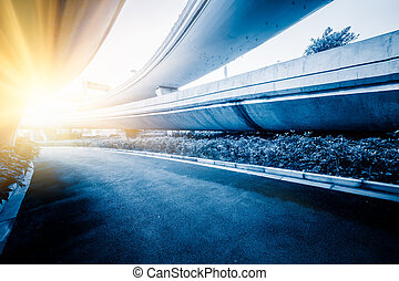 overpass - empty road, overpass of shanghai china blue toned...
