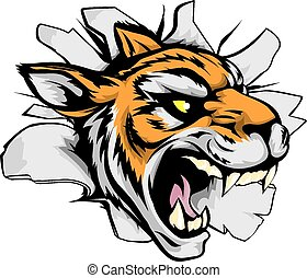 Tiger sports mascot breaking out - A tiger sports mascot or...