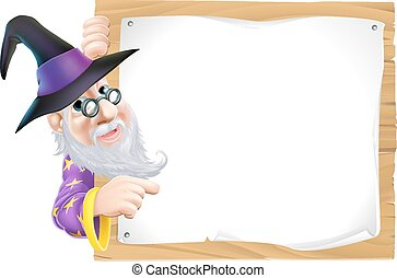 Wizard pointing at sign - Drawing of a friendly old wizard...