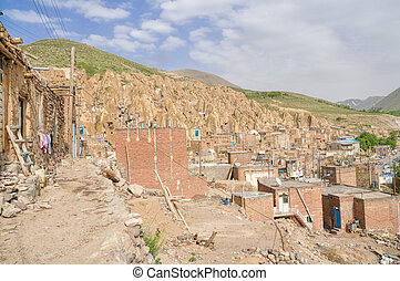 Kandovan - Scenic view of unusual cone shaped dwellings in...