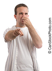 Stinky - A young man holding his nose because of a bad...