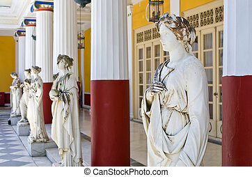 Statues in Achillion Palace in Corfu island, Greece -...