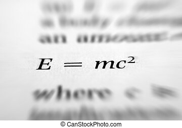 Equation - Einsteins famous mass energy equation.