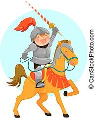 knight on a horse - Cute cartoon knight riding his horse,...