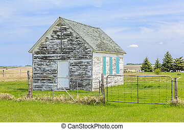 Old Country Church - A small old country church abandoned on...