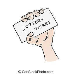 lottery ticket in hand on white background, cartoon,...