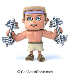 3d Bodybuilder works out - 3d render of a bodybuilder...