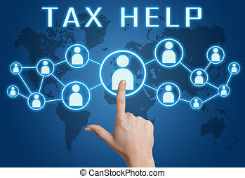 Tax Help concept with hand pressing social icons on blue...