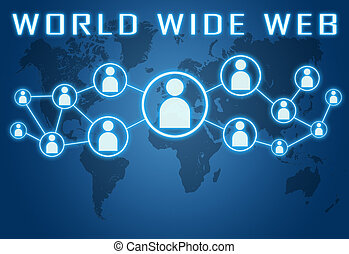 World Wide Web concept on blue background with world map and...