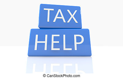 Tax Help - 3d render blue box with text Tax Help on it on...