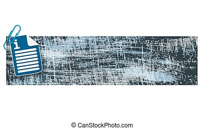 banner with scratches background and document icon